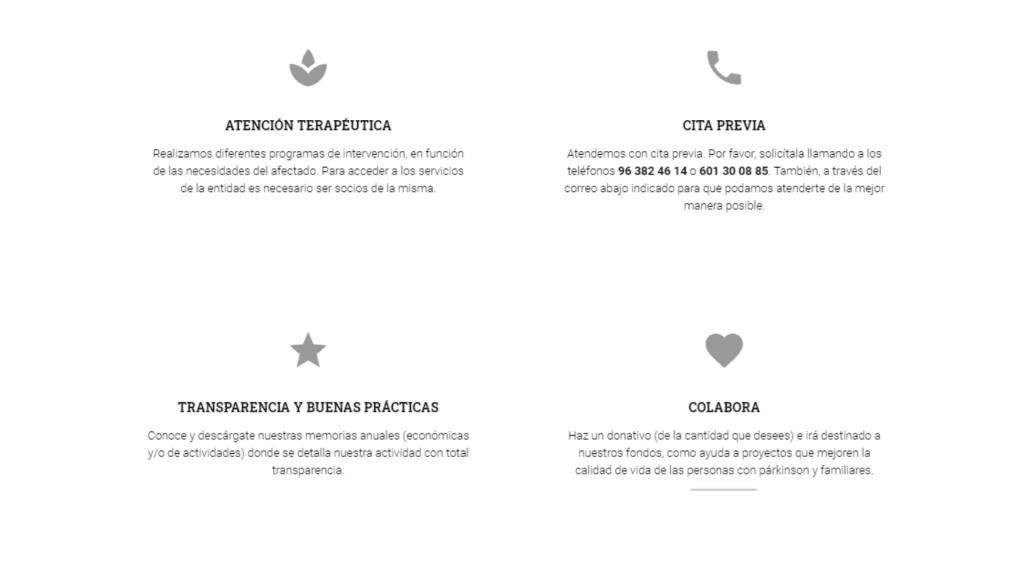 servicios de la asociación Párkinson Valencia